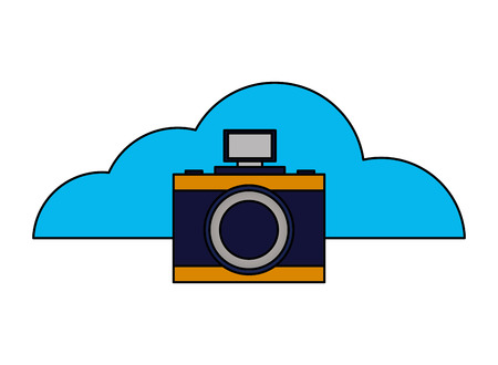 cloud computing photography camera device vector illustration