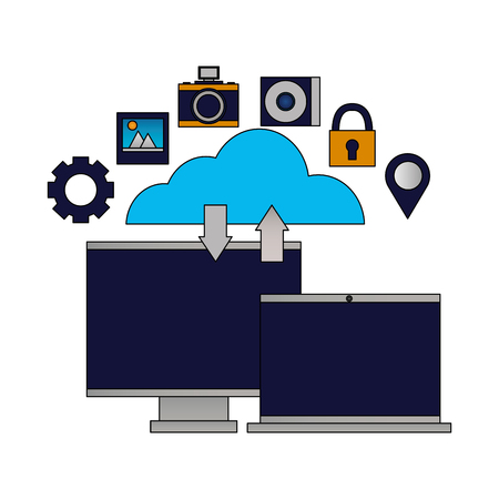 cloud computing monitor laptop upload download vector illustration