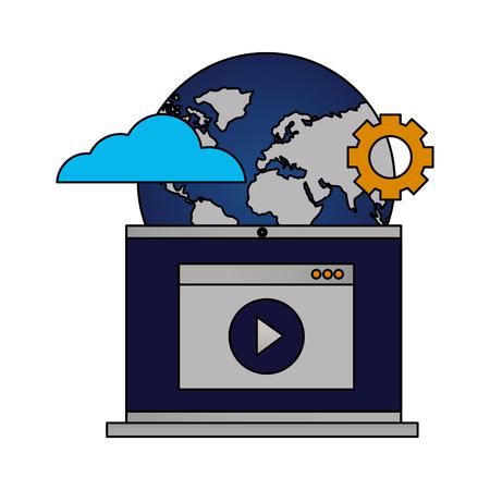 laptop video world setting cloud computing vector illustration
