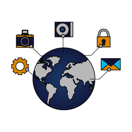 world connection email security data vector illustration