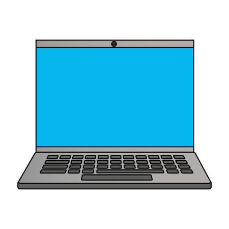 laptop computer device on white background vector illustration