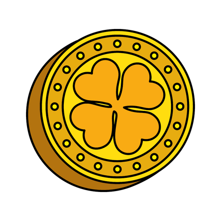 coin with clover icon vector illustration design