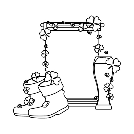 leprechaun boots and beer saint patrick day vector illustration design Standard-Bild - 125788959