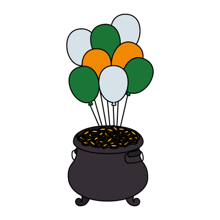 treasure cauldron with coins and balloons helium vector illustration design