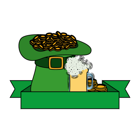 hat leprechaun with coins and beer vector illustration design