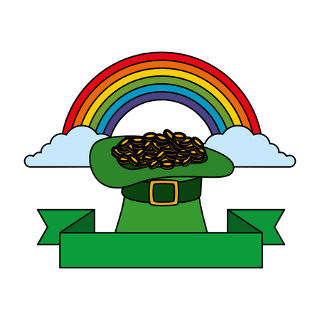 saint patrick card with hat leprechaun and rainbow vector illustration
