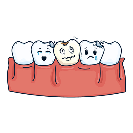 human teeth with tooth sad kawaii characters vector illustration design Standard-Bild - 116139272