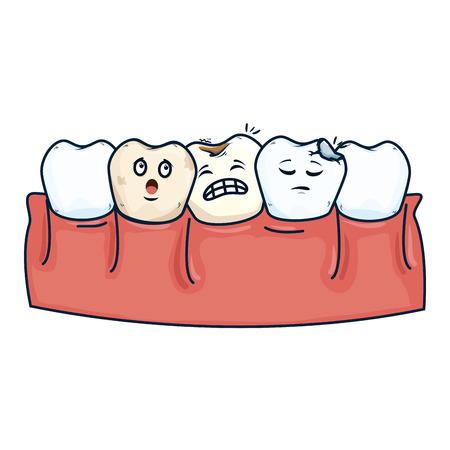 human teeth with tooth sad kawaii characters vector illustration design