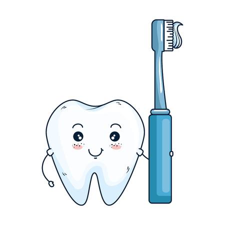 comic tooth with toothbrush kawaii character vector illustration design Standard-Bild - 125792096