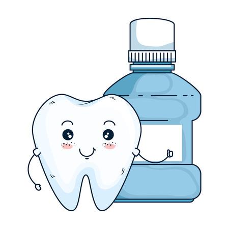 komiks ząb z płynem do płukania ust kawaii postaci wektor ilustracja projektu