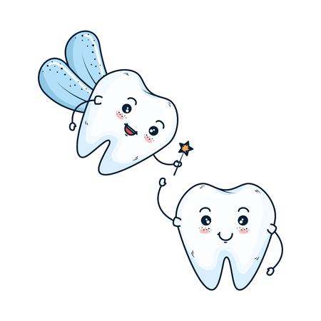 comic teeth couple with fairy kawaii characters vector illustration design Vettoriali