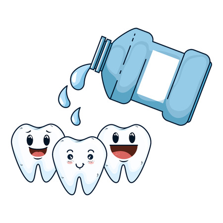 comic teeth with mouthwash kawaii characters vector illustration design