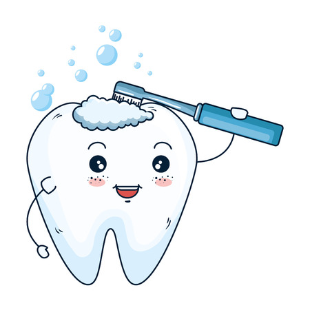 comic tooth with toothbrush kawaii character vector illustration design Standard-Bild - 125792099