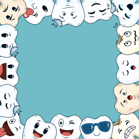 comic teeth frame kawaii characters vector illustration design 向量圖像