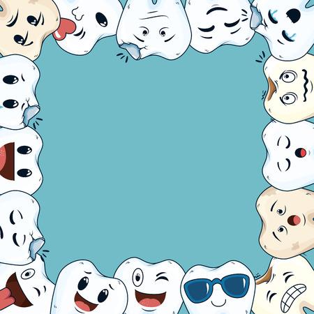 comic teeth frame kawaii characters vector illustration design Illustration