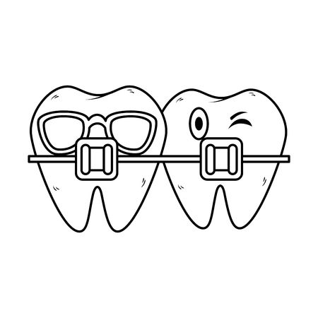 teeth with orthodontics kawaii characters vector illustration design