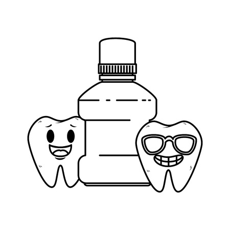 comic teeth couple with mouthwash kawaii characters vector illustration Stock Illustratie