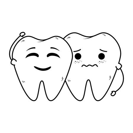comic teeth couple kawaii characters vector illustration design  イラスト・ベクター素材