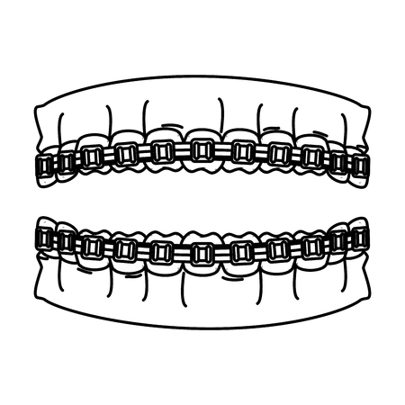 human teeth with orthodontics vector illustration design Ilustracja