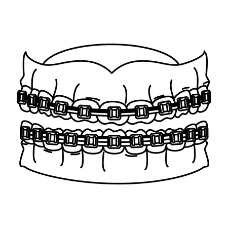 human teeth with orthodontics vector illustration design  イラスト・ベクター素材