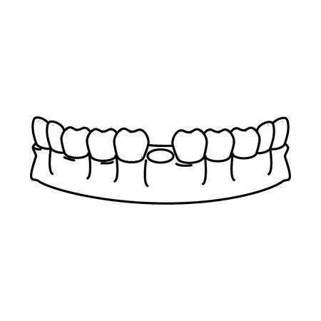 human teeth without one tooth vector illustration design  イラスト・ベクター素材