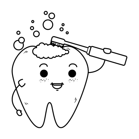 comic tooth with toothbrush kawaii character vector illustration design Stock Vector - 125792156