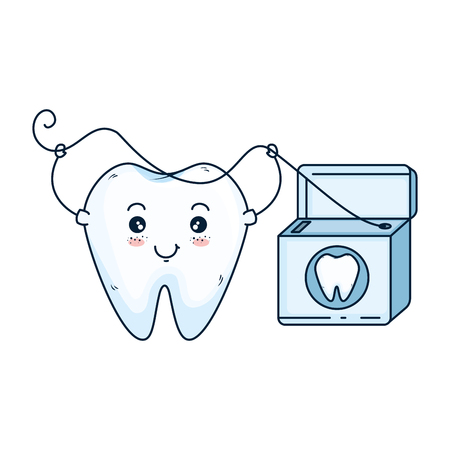 comic tooth with floss kawaii character vector illustration design Illustration