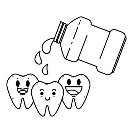 comic teeth with mouthwash kawaii characters vector illustration design