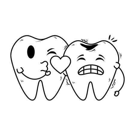 comic teeth couple with heart kawaii vector illustration design