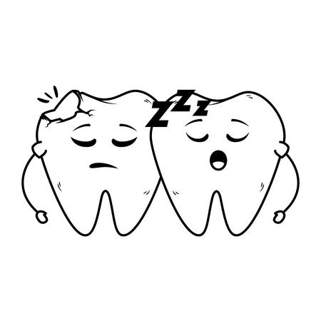 comic teeth couple sleeping kawaii characters vector illustration design