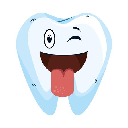 comic tooth happy kawaii character vector illustration design