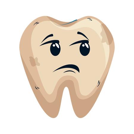 comic tooth sad kawaii character vector illustration design