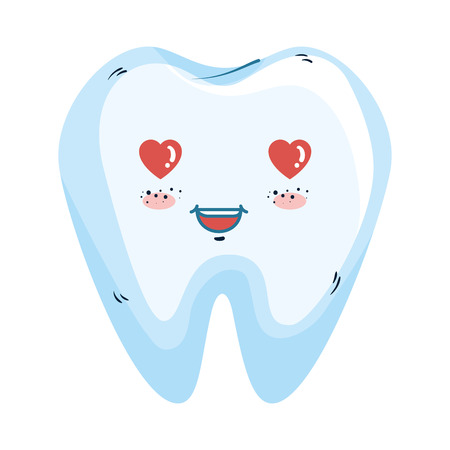 comic tooth with heart kawaii character vector illustration design