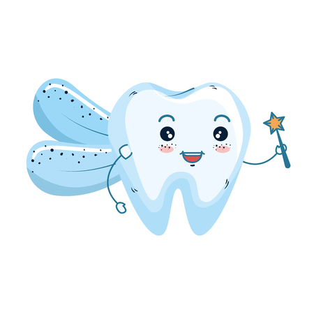 comic fairy tooth kawaii character vector illustration design