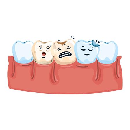 human teeth with dental implant kawaii vector illustration design Ilustracja