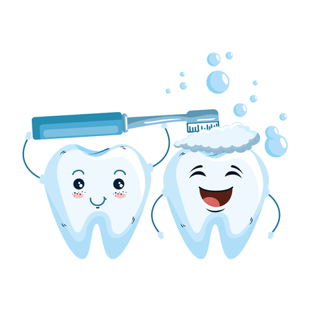 comic teeth couple with toothbrush kawaii vector illustration design  イラスト・ベクター素材