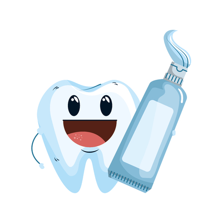 comic tooth with toothpaste kawaii character vector illustration design
