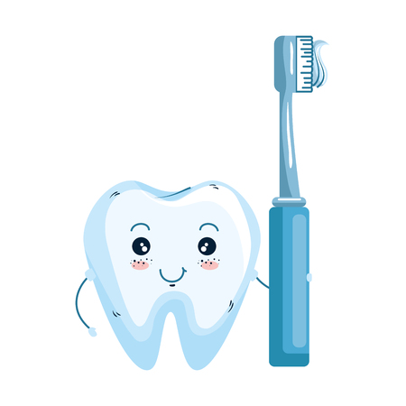 comic tooth with toothbrush kawaii character vector illustration design