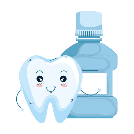 comic tooth with mouthwash kawaii character vector illustration design