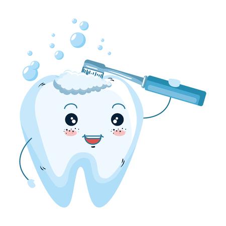 comic tooth with toothbrush kawaii character vector illustration design