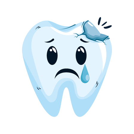 comic tooth broken kawaii character vector illustration design