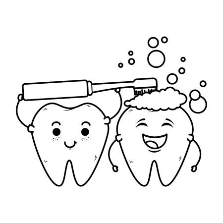 comic teeth couple with toothbrush kawaii vector illustration design Illustration