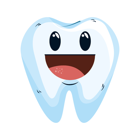 comic tooth happy kawaii character vector illustration design