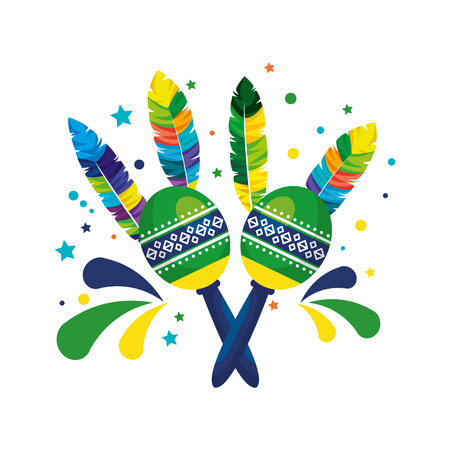 brazilian carnival maracas with feathers vector illustration design