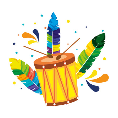 brazilian carnival drum with feathers vector illustration design