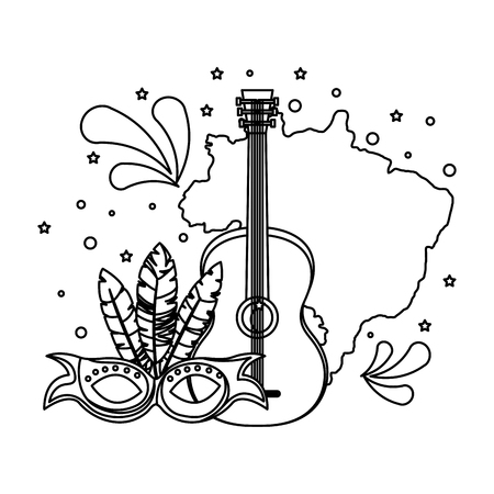 brazilian map with guitar and mask vector illustration design Çizim