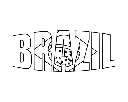 brazilian label with flag vector illustration design