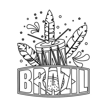 brazilian label with flag and drum vector illustration design Illustration