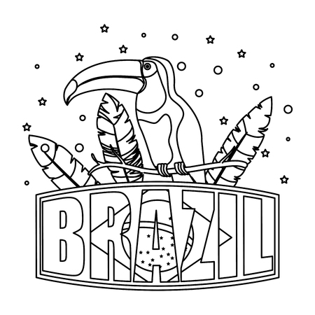 toucan exotic bird with brazilian label vector illustration design