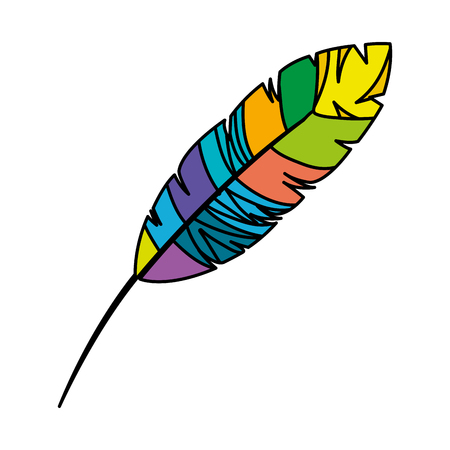 feather exotic colors icon vector illustration design  イラスト・ベクター素材